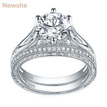 Newshe sólida plata 925 Vintage 2 Ct ronda AAA CZ anillo de compromiso nupcial conjunto de joyería clásica para las mujeres 1R0050