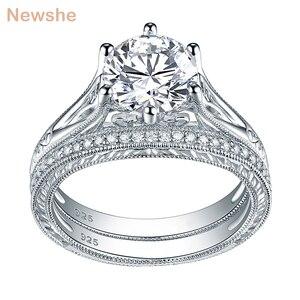 Image 1 - Newshe sólida plata 925 Vintage 2 Ct ronda AAA CZ anillo de compromiso nupcial conjunto de joyería clásica para las mujeres 1R0050