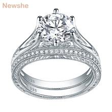 Newshe solide 925 en argent Sterling Vintage 2 Ct rond AAA CZ bague de fiançailles de mariage ensemble de mariée bijoux classiques pour les femmes 1R0050