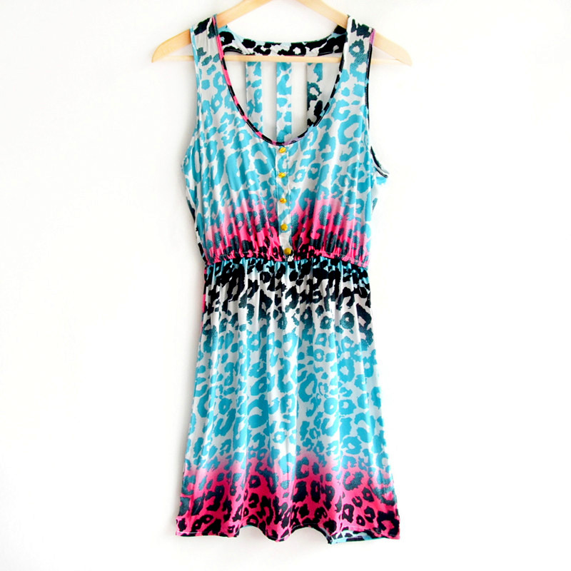 Popular Blue Leopard Print Dress-Buy Cheap Blue Leopard Print ...