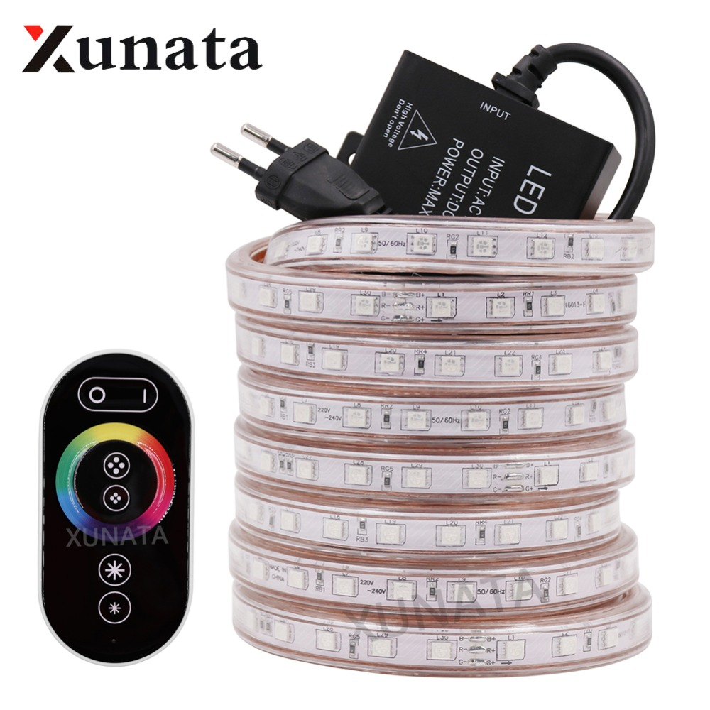 1-10M Waterproof SMD 5050 RGB LED Strip Light Flexible Dimmable 220V EU 60LEDs//m