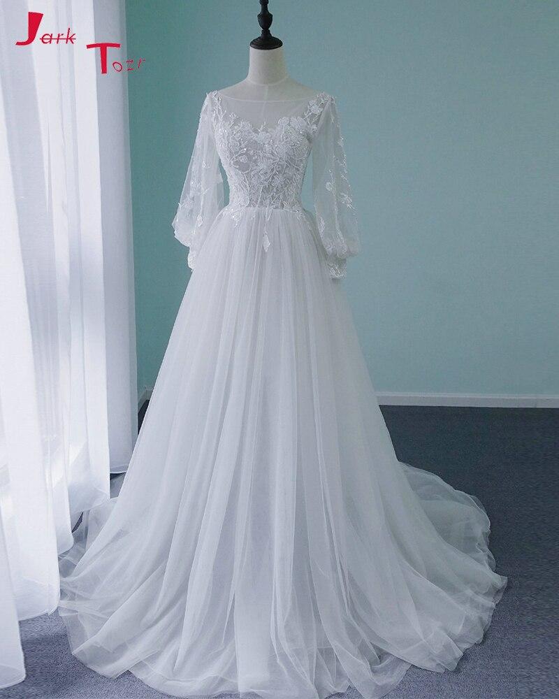 Jark Tozr Robe de Mariee Princesse de Luxe lantern Sleeve Beading Appliques Beach Wedding Dresses 2019