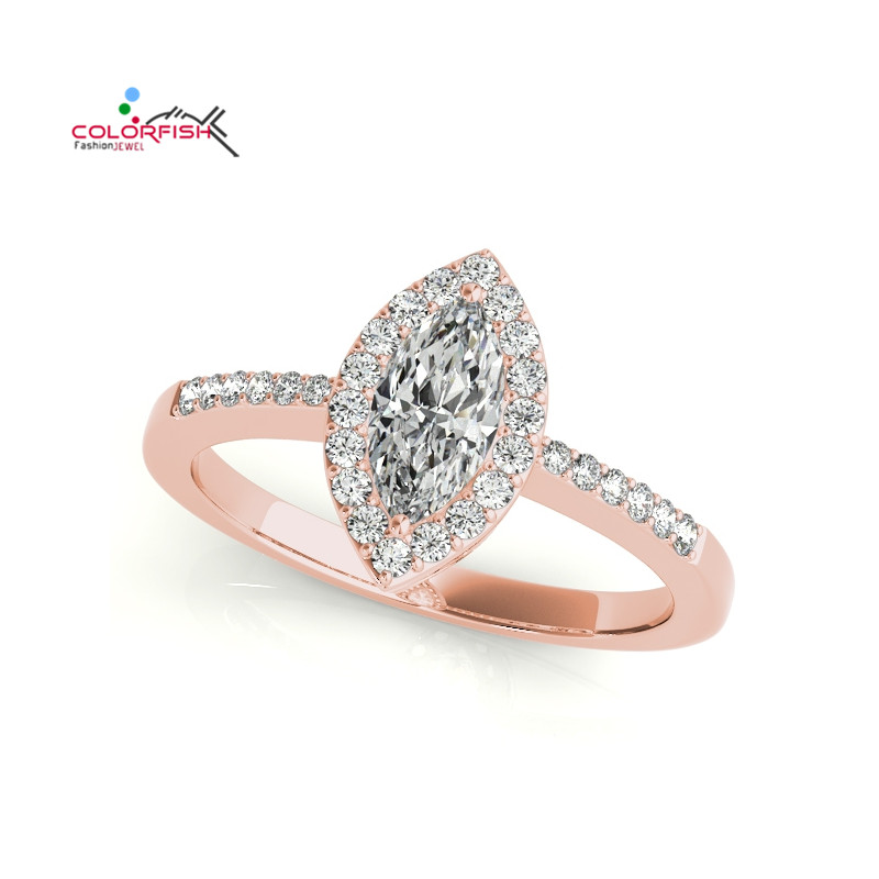 COLORFISH Marquise Cut 1 ct Halo Style Engagement Ring Rose Gold Color Sterling Silver Sona Wedding Ring for Women Jewelry Gifts punk style solid color hollow out ring for women