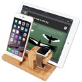 Para a apple watch stand, estação de carga de madeira de bambu/cradle para apple watch, para iphone 5 6 7 7 plus ipad e smartphones e comprimidos