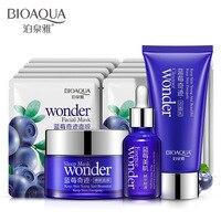 13 pcs/Lot BIOAQUA Blueberry Moisturizing Suit Cleanser+Essence Liquid+Sleeping Mask+Face Mask Skin Care Set Oil Control Shrink