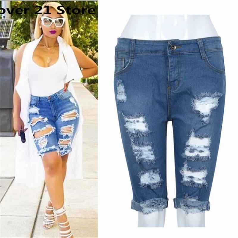 Women Blue Denim Jeans Solid Casual Hole Summer Button Mini Hot Shorts S