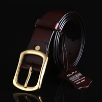 100 Genuine Cowhide Leather Split Leather Male Belt Metal Buckle Strap Fashion Apparel Accessories Solid Brown