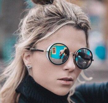 JackJad 2017 Fashion SteamPunk Vintage Round Style Sunglasses Women Side Cover Gradient Brand Design Sun Glasses Oculos De Sol 6