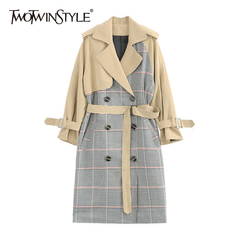 TWOTWINSTYLE Plaid Windbreaker Womens Patchwork Lapel Collar Long Sleeve Double Breasted Long   Trench   Coat 2018 Summer OL Clothes