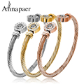 Top Quality Stainless Steel Braided Rope Chain Bracelet Bangles Fashion Jewelry Rose Gold Plated Women Crystal Bangles B160707