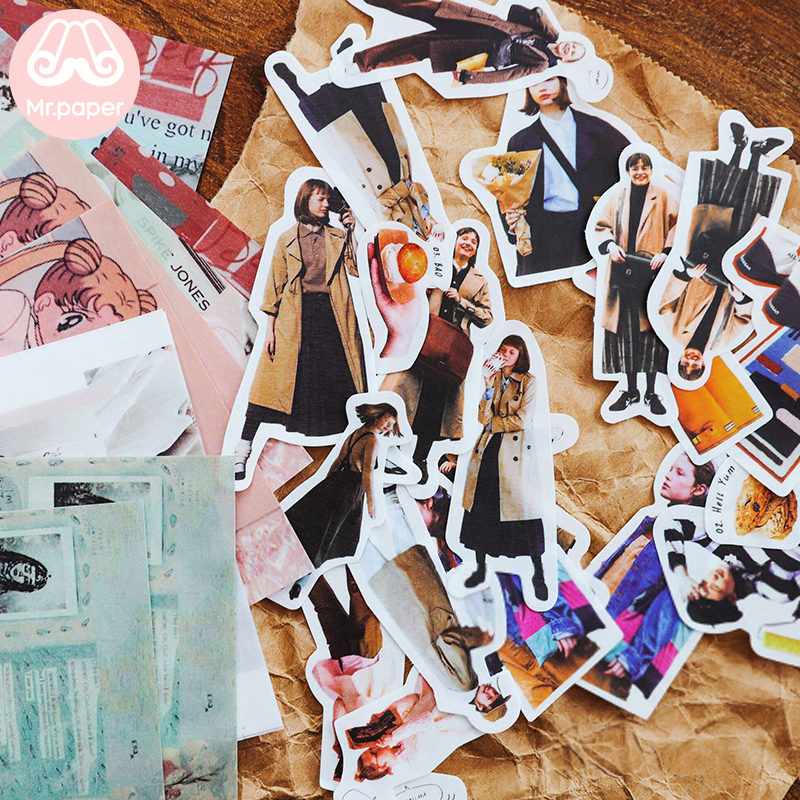 Mr.paper 50Pcs/bag 4 Designs Hollywood Movie Star Street Snap Model Deco Sticker Diary Scrapbooking Bullet Journal Deco Stickers
