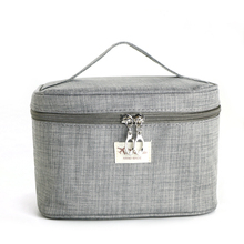 Large Capacity Barrel Travel Cosmetic Bags Women Professional Brush Necessaries Makeup Case with Mirror Tolietry Storage Bag cosmetic bag with mirror professional cosmetic clapboard case large capacity storage travel toiletry makeup travel bag case