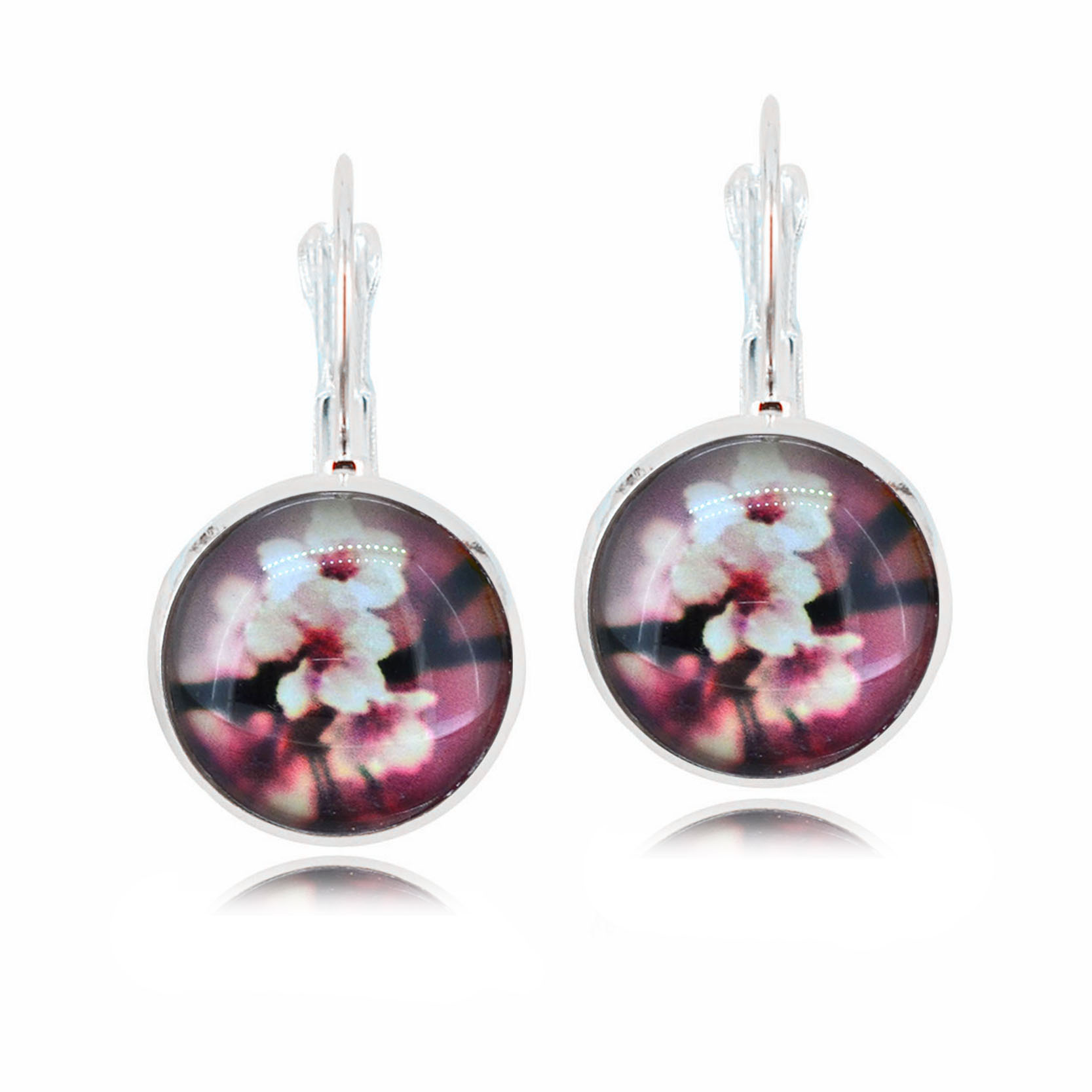 Plum Blossom Flowers Earring Silver Color French Lever Back Glass Cabochon  Copper Hoop Earrings For Women