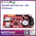Fornecimento de cartão de led wifi controlador kaler xu2w x2w led de cartão de controle de 32 * 512 pixel com porta usb para p10 levou movendo sinal programble