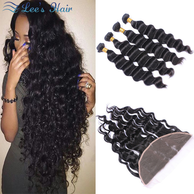 10A Malaysian Loose Wave with Frontal Ear to Ear Closure With Bundles Baby Hair Human Hair Weave Lace Frontals and Bundle Deals
