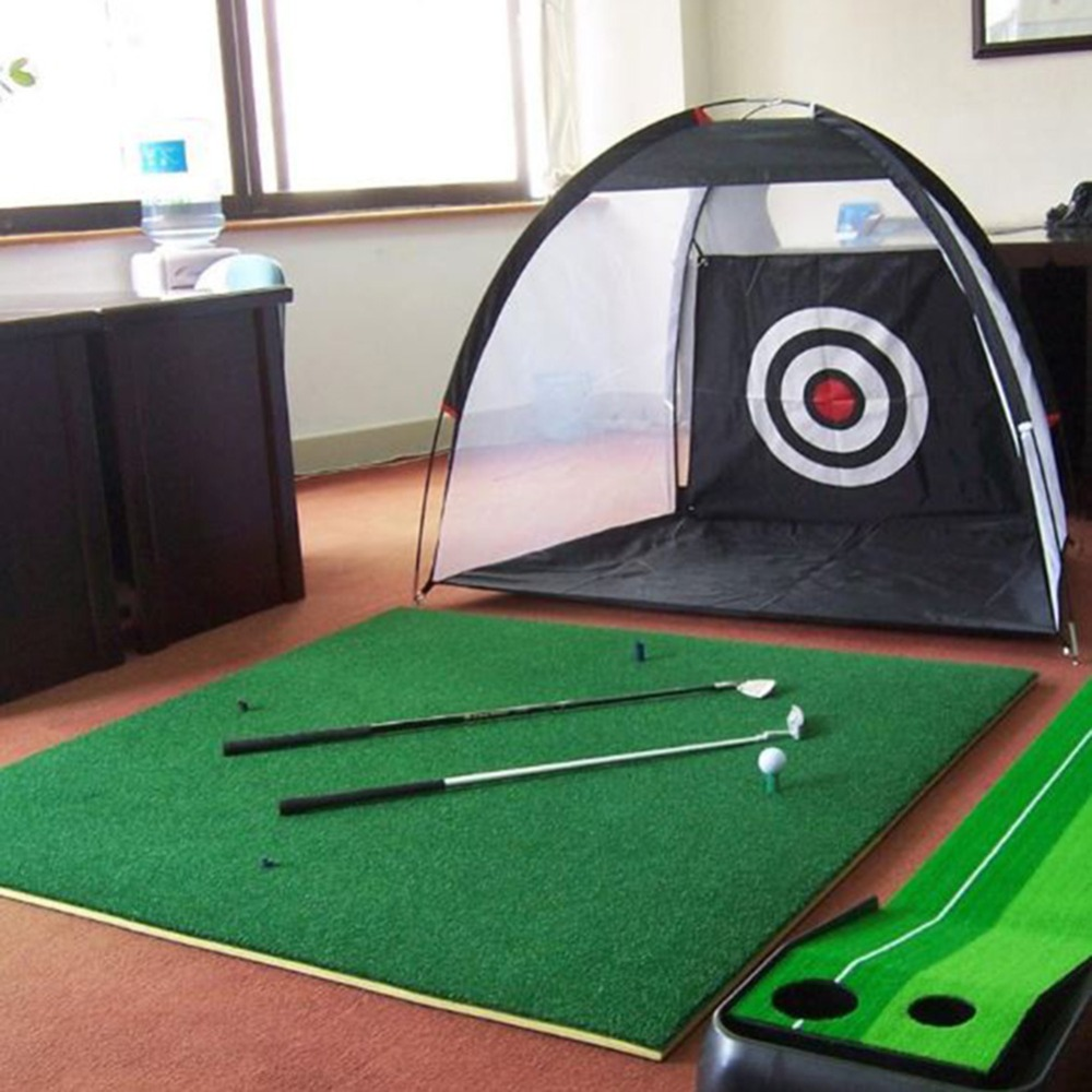 Image 5 - 2m Golf Cage Swing Trainer Pad Set Indoor Golf Ball Practice Net Golf Training New without the mat-in Golf Training Aids from Sports & Entertainment