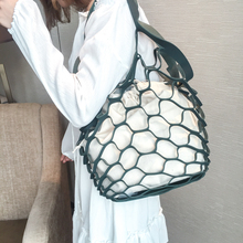 2018 Summer Beach Women Fashion Simple Hollow Out Shoulder Bags Fashing Net Shopping Composite Lady Canvas HandBags Casual Tote