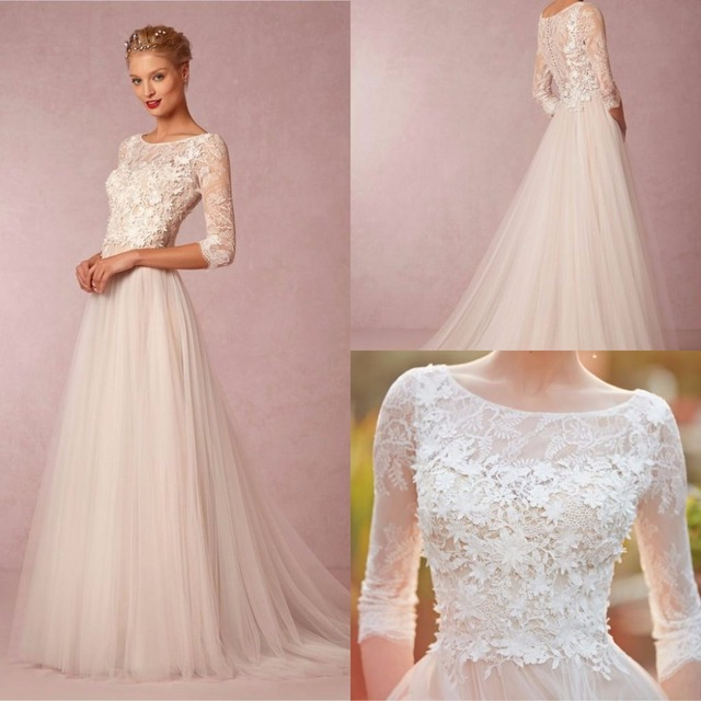 Spring Simple Wedding Dresses A Line Cheap 3 4 Sleeve Plus Size Scoop Tulle Lace