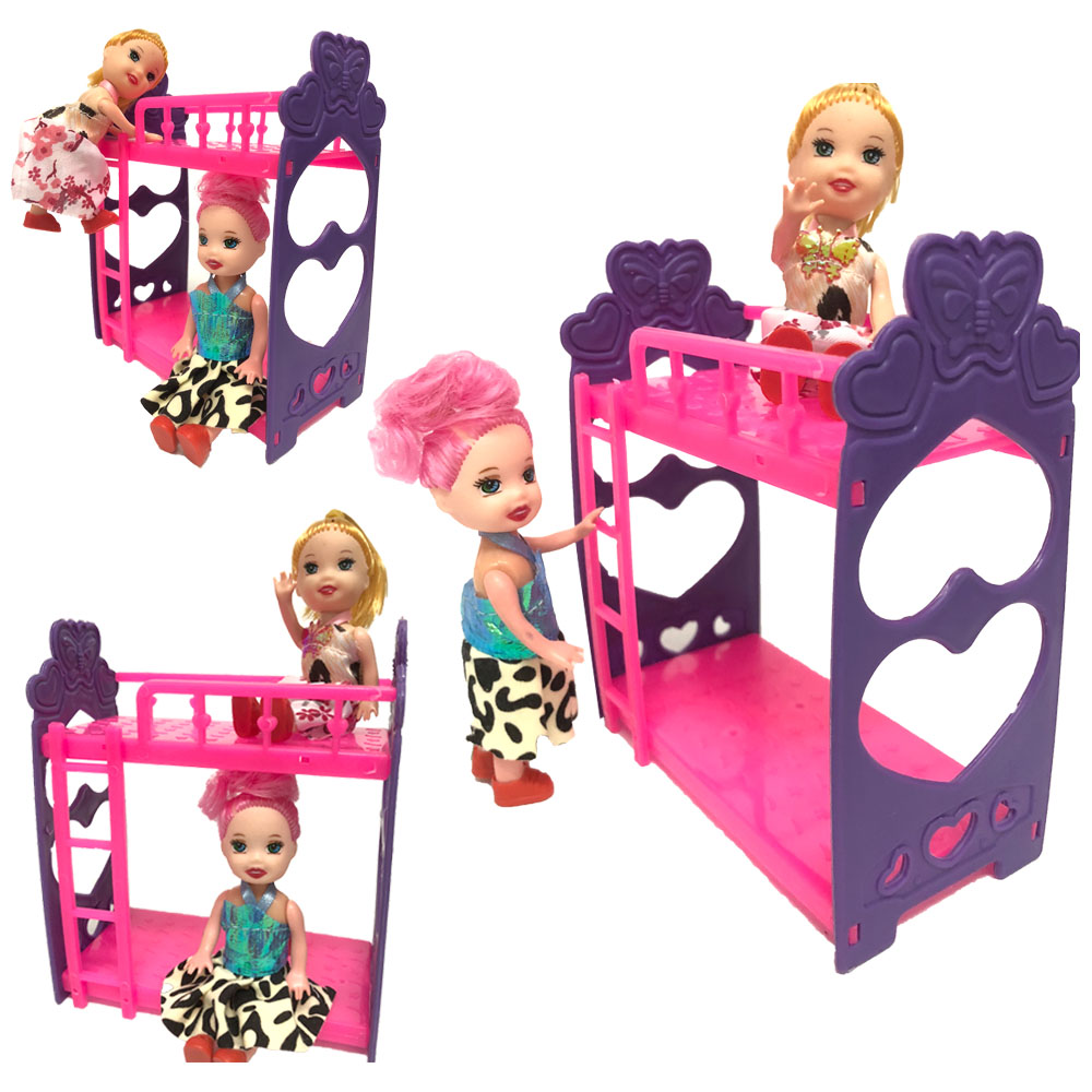 NK One Set Doll Accessories Super Cute Platic Bunk Bed Play House Toys For Mini Doll For Barbie Doll Kelly Doll Baby Toys DZ