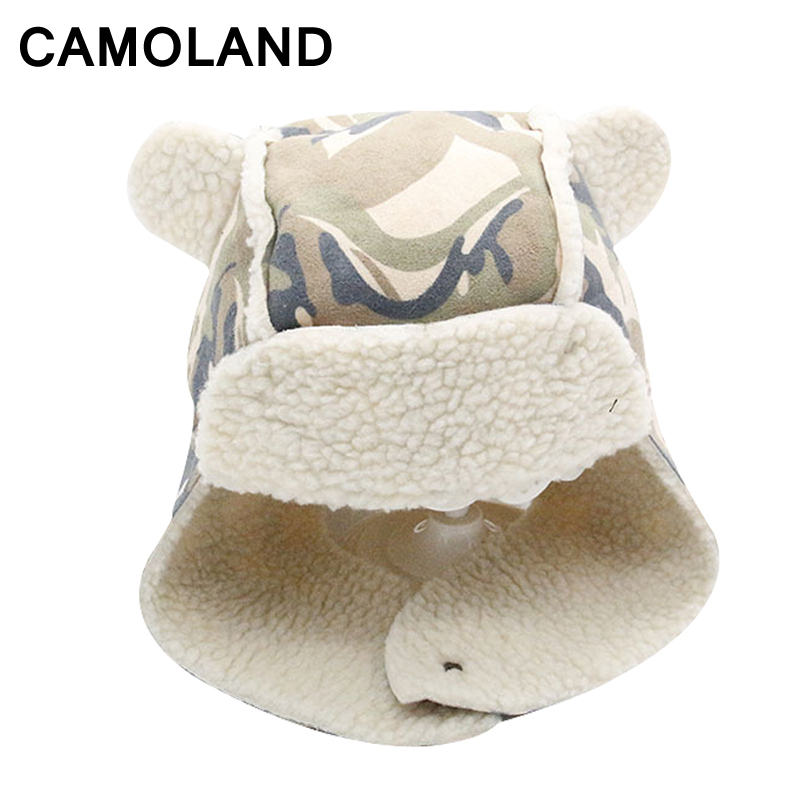 17ce04e2 Winter Bomber Hats Boy baby Kids cap Russian Hat Girls EarProtect  Children's balaclava Warm Mask Snow cap mask Soviet Camouflage