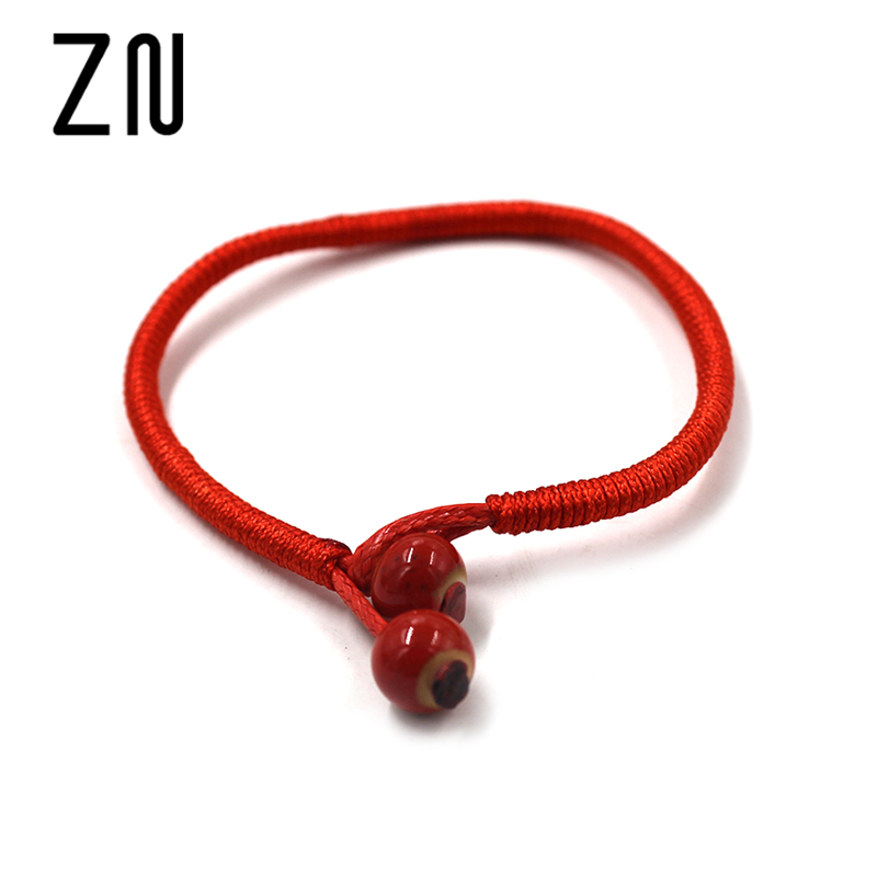 Women Lucky Bracelets Bead Red String Ceramic bracelets & bangles Handmade Accessories Jewelry