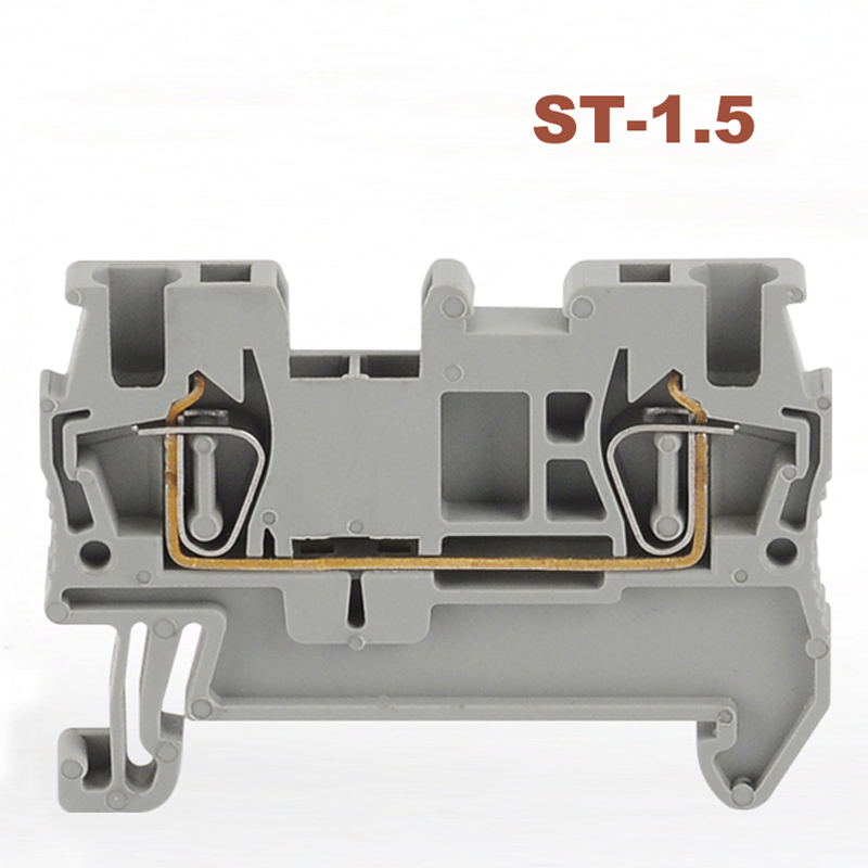Spring Terminal Blocks connector ST-1.5 din rail screwless terminals block  wire cable connectors copper morsettiera 17.5ASpring Terminal Blocks connector ST-1.5 din rail screwless terminals block  wire cable connectors copper morsettiera 17.5A