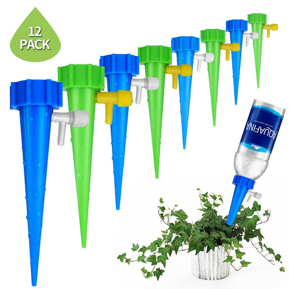 Plant Self Watering Adjustable Stakes System 12Pcs/set Vacation Plant Waterer Self Automatic Watering Spikes Irrigation System(China)