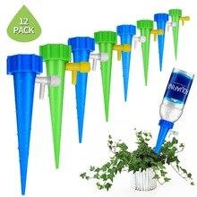식물 자체 급수 조절 스테이크 시스템 12 개/대 휴가 식물 Waterer 자동 자동 급수 스파이크 관개 시스템