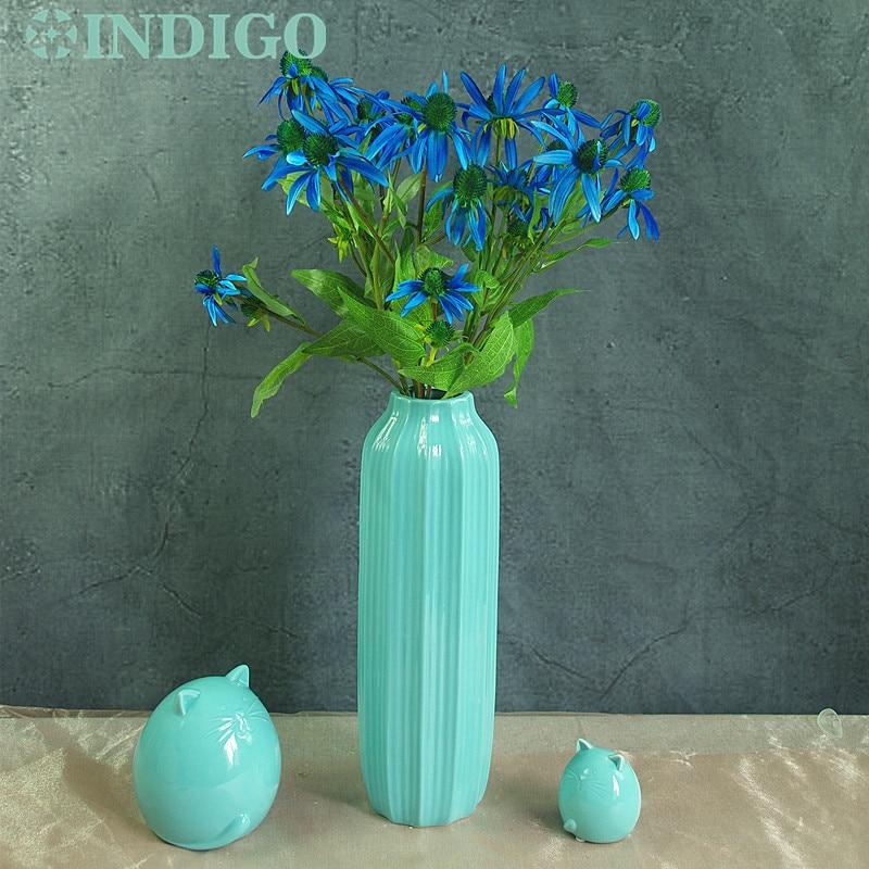 INDIGO- 9pcs 5 capete Albastru Daisy Floarea-soarelui Mătase - Produse pentru sărbători și petreceri