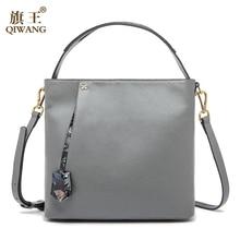 QIWANG Flower Pendant Handbags Elegant England Brand Design Fashion Women Brand Bag Cow Leather Tote Box