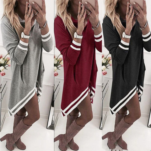 Fashion New Women Ladies Winter Casual Solid Hooded Long Sleeve Jumper Tops Knitted Loose Tunic Mini Dresses Women