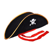 Skull Pirate Costume Fancy Dress Hlooween Party Accessories Skull Cap Caribbean Corsair Hat Party Supplies Adult Pirate Hat(China)