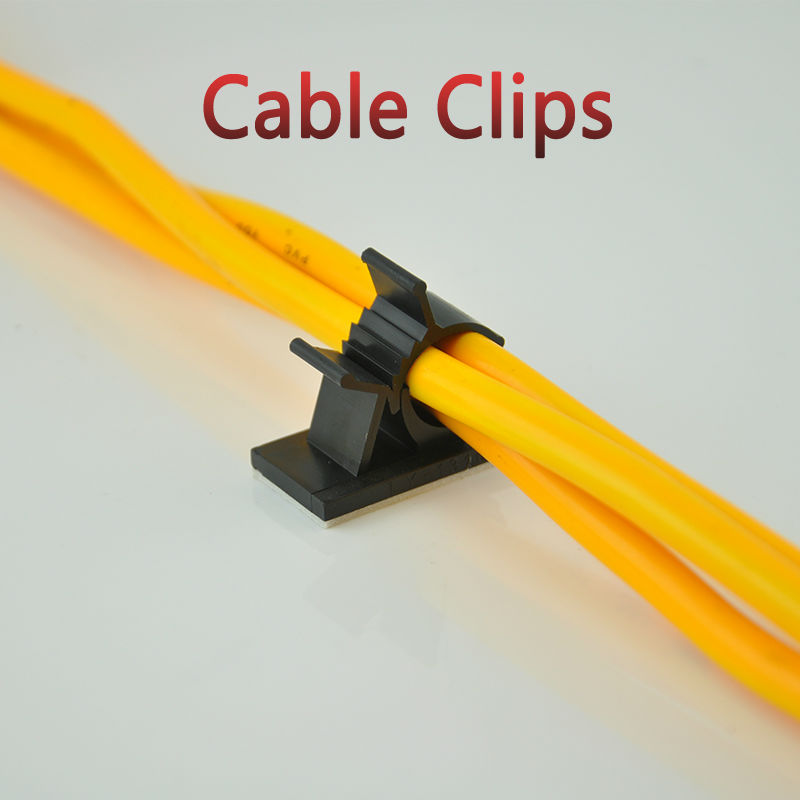 10pcs Cable Clips 1720 Adhesive Backed Nylon Wire Adjustable Cable Clamps Car Wire Tie Amount Holder Black
