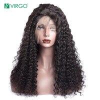 Вирго вьющиеся человеческие волосы парик 180% плотность полный кружево человеческие волосы Искусственные парики для черный для женщин Брази