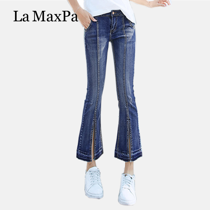 2017 American Apparel Real Washed Zipper Fly Stripe Mid Cotton Regular Flare Pants Light Boyfriend Jeans Are The Female Version knowledge cotton apparel кардиган knowledge cotton apparel модель 28184321