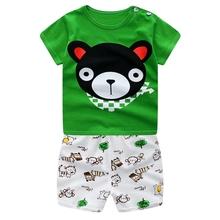 WYNNE GADIS Summer Baby Boys Cotton Short Sleeve Cartoon T-shirt Tops + Animal Shorts Two Pieces Suits Casual Kids Clothing Sets