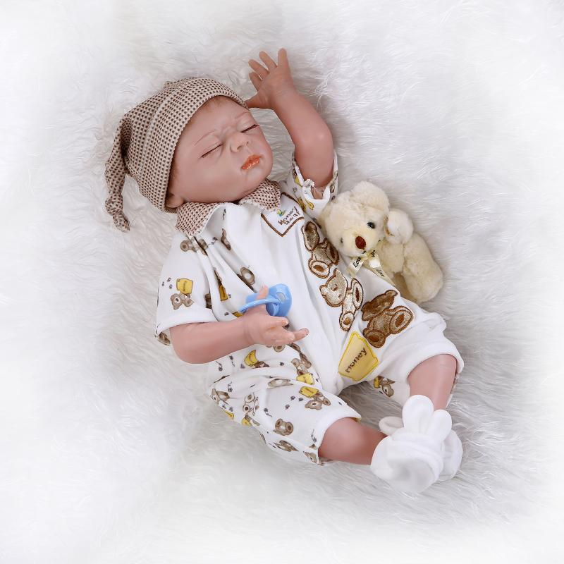 Silicone Doll Reborn Babies Sleeping Closed Doll Lifelike Realistic Baby Doll Kids Growth Partners  Juguetes Brinquedos