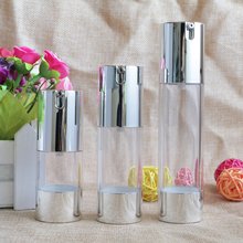 Makeup Beauty 15ml 30ml 50ml Empty Airless Vacuum Plastic Bottles Gold Silver Cosmetic Travel Liquid Refillable 10pcs