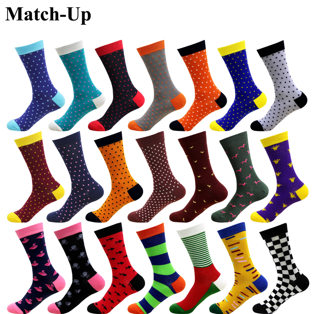Match-Up New men's color Business socks combed cotton socks brand dot style novelty socks men US size (7.5-12) 1 pair
