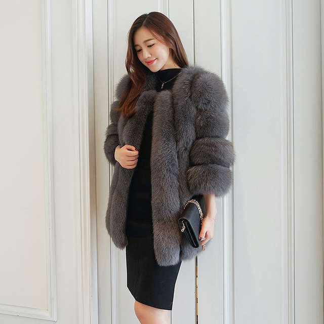 0c9e5bc7b35 UPPIN Winter Elegant Fashion Fur Coat Women Latest Dark Grey Faux Fox Fur  Jacket O-