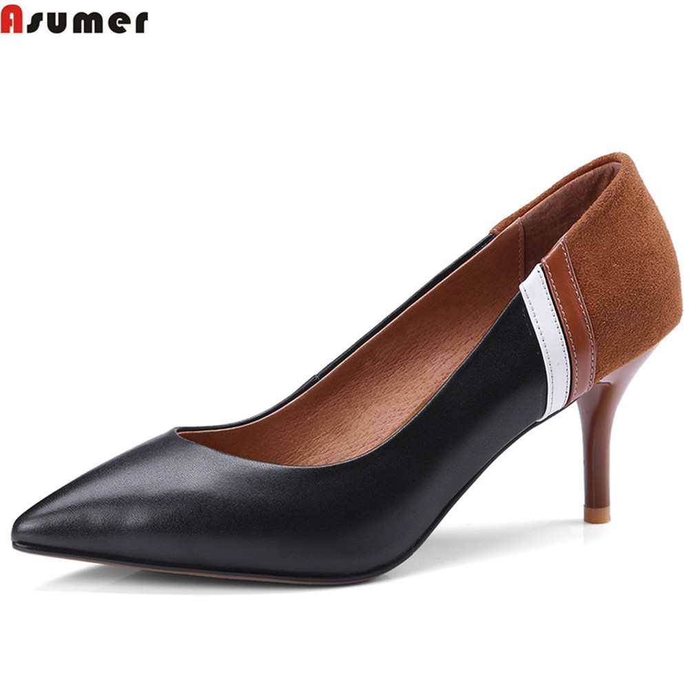 ASUMER black beige pointed toe shallow fashion spring autumn pumps shoes mixed colors women genuine leather high heels shoes women genuine leather slip on pointed toe lazy shoes sweet bow knot shallow party spring autumn women pumps black pink
