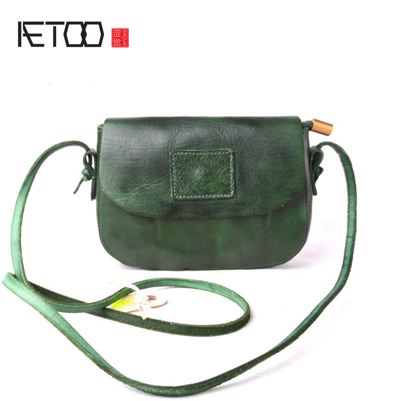 AETOO New original handmade leather handbags mini bag leather art simple shoulder retro Messenger small square
