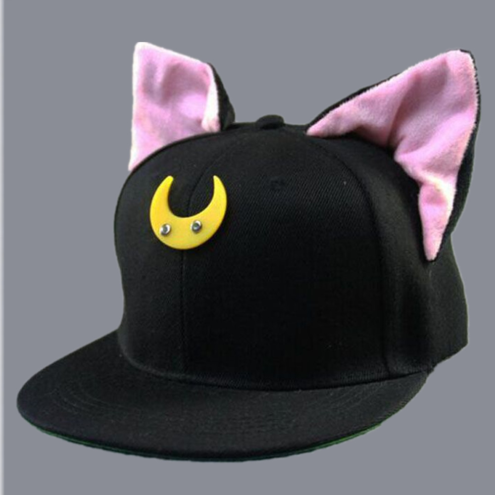 2017 new Cute Kawaii Womens Bones Snapbacks Hip Hop Cap Street Casual Baseball Caps Lovely Cat Ears Elf Female Sailor Moon Hats new 2017 fashion unisex cap bones baseball cap snapbacks hat simple hip hop cap casual sports female hats wholesale