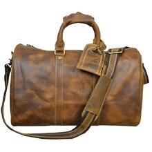 Cowhide Genuine Leather Handbag Computer bags Vintage Travel Bag Luggage&Bags Men Leather Genuine Travel Laptop for men