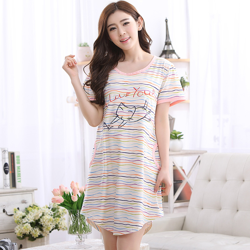 Brand Cotton Women's Striped   Nightgowns     Sleepshirts   Cartoon Nightdress Girl Sleepwear Femme Nightie Women Lounge Dress Fashion