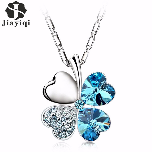 2017 Heart Chains Silver Crystal Clover Charm Pendants Fine Jewelry Statement Necklaces For Women Best Friend Black Friday