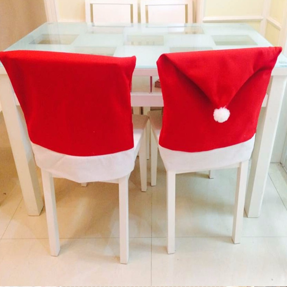 4Pcs Christmas Chair Back Cover navidad santa clause Red Hat Christmas Decoration For Home New Year Party Decor