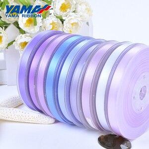 Image 3 - Yama 50 57 63 75 100 mm 100 jardas/lote dupla face fita de cetim roxo para festa de casamento decoração artesanal flores rosa artesanato