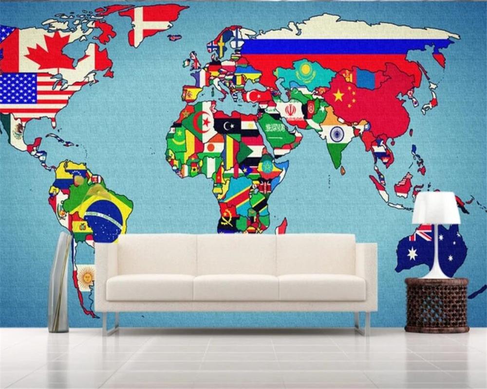 Creative 3d Wallpaper Roll World Countries Flags Map Wall