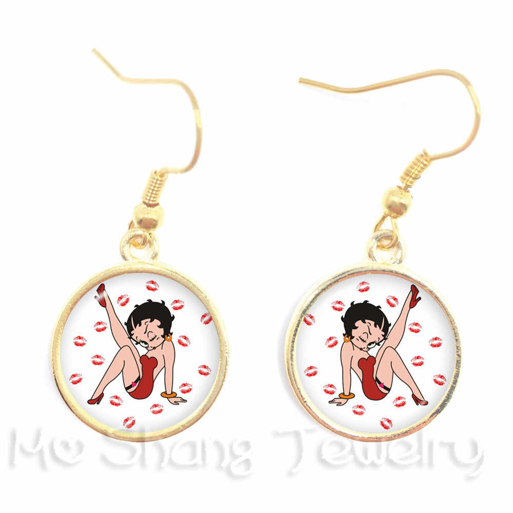 Romantic Style Background Sexy Betty Boop Series Pattern 16mm Glass Earrings DIY Charms Earrings  For Women Girls Wonderful Gift